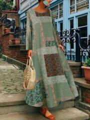 Newchic Bohemian Floral Print Beach Summer Plus Size Maxi Dress
