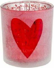 "Casibus Solutions THEELICHTHOUDER ""LOVE"" + HART   ROOD   7X7XH8CM   GLAS   (3 STUKS)"