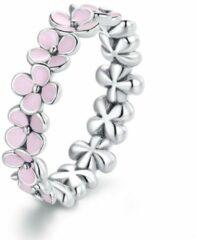 Mijn bedels Sterling zilveren ring Roze bloemenkrans