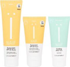 Naïf Sunny volwassen voordeelset zonnebrandcrème gezicht factor 30 + lichaam SPF30 + aftersun