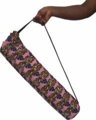 Rode Maame Tumi | Yogatas Roze / Veelkleurig / Bloemen | Handgemaakt in Ghana | Duurzaam | Met sleutelvakje | Fairtrade draagtas voor yogamat | Yogabag | Goed doel