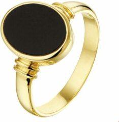 Goudkleurige Huiscollectie Geelgouden Zegelring massief onyx 18.00 mm (57)