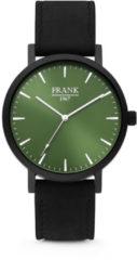 Frank 1967 7FW-0004 - Stalen horloge met lederen band - zwart en groen - Ø 42 mm