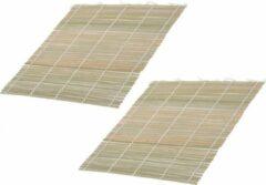 Beige Merkloos / Sans marque 6x Sushi oprol matten bamboe hout 24 cm - Keuken/kookbenodigdheden - Sushi maken benodigdheden - Sushimatjes - Sushi oprolmatten