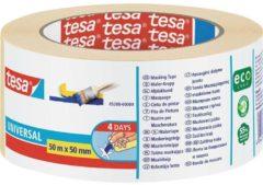 Creme witte Afplaktape/schilderstape 50 mm x 50 m - Verf afplakband/tape - Maskeertape - Tesa Masking tape