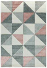 Eazy Living Easy Living - Sketch-Cubic-Pink Vloerkleed - 200x290 cm - Rechthoekig - Laagpolig Tapijt - Retro, Scandinavisch - Grijs, Roze
