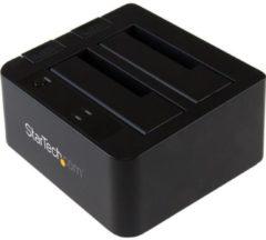 Zwarte StarTech.com USB 3.1 (10bps) dubbel harddisk docking station voor 2,5 en/of 3,5'' SATA SSD/HDD