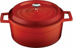 Rode LAVA Trendy Casserole rond - 24 cm - 4.49Ltr - Red/Black