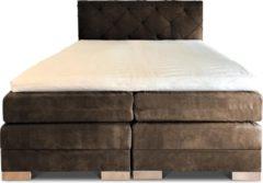 Boxspring Musa compleet, merk Olympic Life, 160 x 220 cm, kaki, 18-delig met luxe ruiten motief hoofdbord - Skaileer Preston stoffering