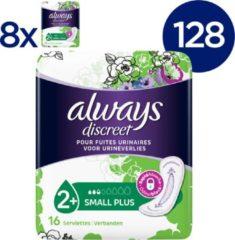 Always Discreet voor urineverlies en incontinentie Small Plus - Voordeelverpakking 128 Stuks - Maandverband