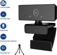 Zwarte Takmach Webcam Full HD Met een statief -360° draaibaar - Gamen - Vergaderen - Werk & Thuis - School - USB- Auto focus - 360° draaibaar