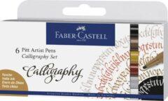 Faber Castell FC-167506 Tekenstift Faber-Castell Pitt Artist Pen Kalligrafieset 6x
