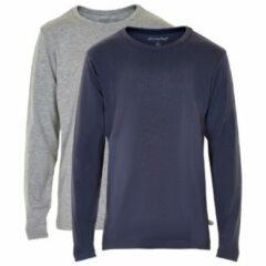 Blauwe Minymo - Kid´s Basic 34 -T-shirt L/S (2-pack) - Longsleeve maat 122 bruin/grijs/blauw