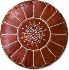 See The Good Leren Poef - Kastanjebruin - Handgemaakt en gevuld geleverd – extra zacht en vervaardigd uit plantaardig gelooid leer