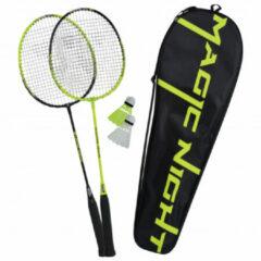Groene Talbot Torro Badminton Racket Set + Shuttles met LED-verlichting