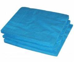Merkloos / Sans marque 25x turquoise servetten 33 x 33 cm - Papieren wegwerp servetjes - turquoise/blauwe versieringen/decoraties