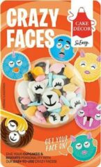 Blauwe Cake Décor| Crazy Faces - Suikeroogjes, oortjes, unicorn hoorns, lippen - Taartdecoratie