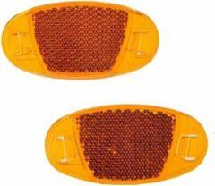 Spaakreflectoren / fietsreflectoren oranje set 2x stuks - Fiets accessoires/veiligheid/zichtbaarheid