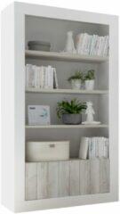 Pesaro Mobilia Open boekenkast Urbino 190 cm hoog in hoogglans wit met grenen wit