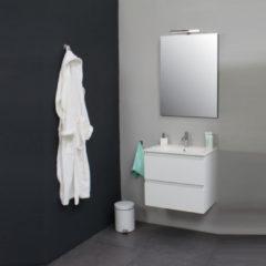 Badkamermeubelset BWS met Porseleinen Wastafel 60 cm 1 Kraangat incl Spiegel Wit