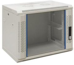 "Beige Alfaco 19-6412W, 12U, 19"" serverkast - wandkast met glazen voordeur, (BxDxH) 600x450x643mm"