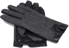 Grijze Napogloves Gevoerde handschoenen Heren Touchscreen handschoenen Zwart Maat S