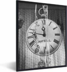 PosterMonkey Foto in lijst - Wandklok met slingers fotolijst zwart zonder passe partout 30x40 cm - Poster in lijst (Wanddecoratie woonkamer / slaapkamer)