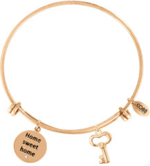 CO88 Collection Inspirational 8CB 11017 Stalen Armband met Hangers - Home Sweet Home en Sleutel - One-size - Goudkleurig