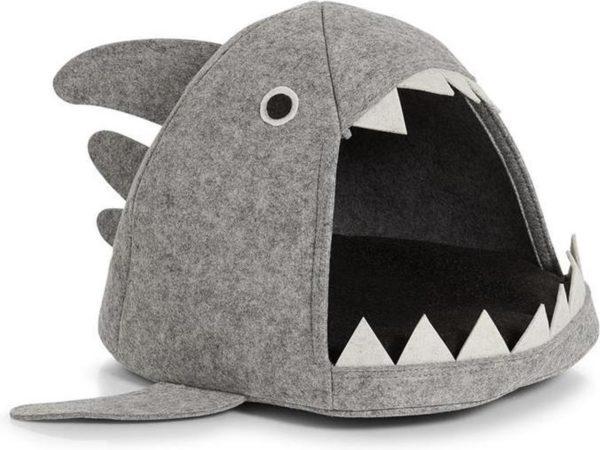 """Afbeelding van Grijze Zeller - Cat-Basket """"Shark"""", felt, grey"""