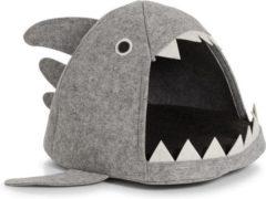 """Grijze Zeller - Cat-Basket """"Shark"""", felt, grey"""