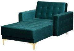 Groene Beliani Aberdeen Chaise Longue Fluweel 168 X 107 Cm