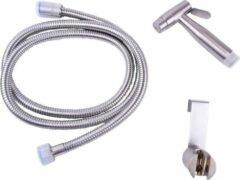 Roestvrijstalen WillieJan Toiletdouche Set HD2019s - Geborsteld RVS - Verstelbare Straal - Sprayer, Slang en Ophangbeugeltje