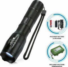 Zwarte YONO Militaire Zaklamp met Batterij en Oplader – Oplaadbaar - Waterbestendig - Zoom Functie