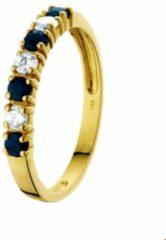Blauwe Huiscollectie Geelgouden Ring saffier en zirkonia 18.50 mm (58)