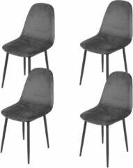 Gebor Set van 4 eetkamerstoelen fluweel - Model Inoui - Modern Ontworpen Stoel - Grijs Velvet - Design - Fluweel - Grijs