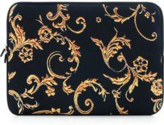 Gele Laptop sleeve tot 14 inch met barok print – Zwart/Goudgeel
