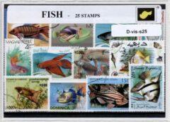 Transparante KLOMP G.T.P Vissen - postzegelpakket cadeau met 25 verschillende postzegels