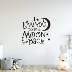 Muursticker I Love You To The Moon And Back - Roze - 40 x 40 cm - baby en kinderkamer - Muursticker4Sale