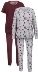 Schlafanzug Simone bordeaux/grau meliert