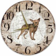 Bruine Creatief Art Houten Klok - 30cm - Hond - Dwergpinscher