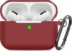 Bordeauxrode YONO Airpods Pro Case - Siliconen Hoesje met Clip – Bordeaux Rood