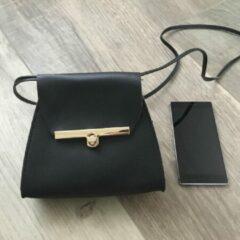 Gouden AVGGoods Zwarte Crossbodytas - Zwarte Schoudertas - Stijlvolle Crossbody Tas - 18,5 x 15 CM