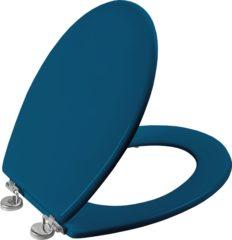 Blauwe Allibert wc-bril BOLIVA - geperst hout - verchroomde scharnieren - blauw gelakt