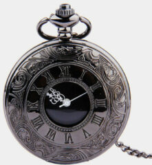 Newchic Vintage Black Roman Numerals Numbers Dual Display Pocket Watch with Chain