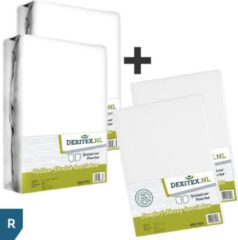 Dexitex Frans bed 2 x Hoeslaken Wit Jersey katoen/ 2 x Molton geschikt voor Caravan/Camper RECHTS
