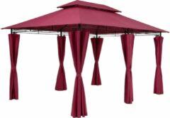 Casaria Paviljoen Topas 3x4m zijwanden metaal waterafstotend partytent rood