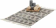 Relaxdays vloerkleed met patroon - met franjes - laagpolig kleed - geometrische vormen Zwart, 60 x 90 cm