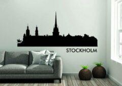 Zwarte Versierendoejezo Stockholm Skyline Muursticker