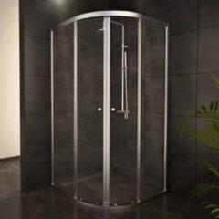 Adema Glass douchecabine kwartrond 2 schuifdeuren 100x100x185cm chroom profiel en helder glas SW8185