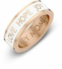 Roze Key moments 8KM-R0006-56 Stalen Ring - Dames - Wit - Emaille - LOVE HOPE JOY - Maat 56 - Staal - Rosé Gold Plated